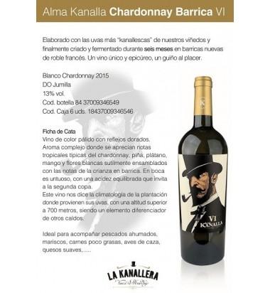 Alma Kanalla Chardonnay Barrica VI 2016 * Vino Blanco, Jumilla