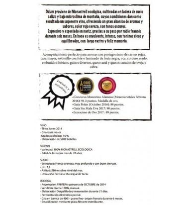 Odum, Seleccion Monastrell ecológica 2014 * Yecla