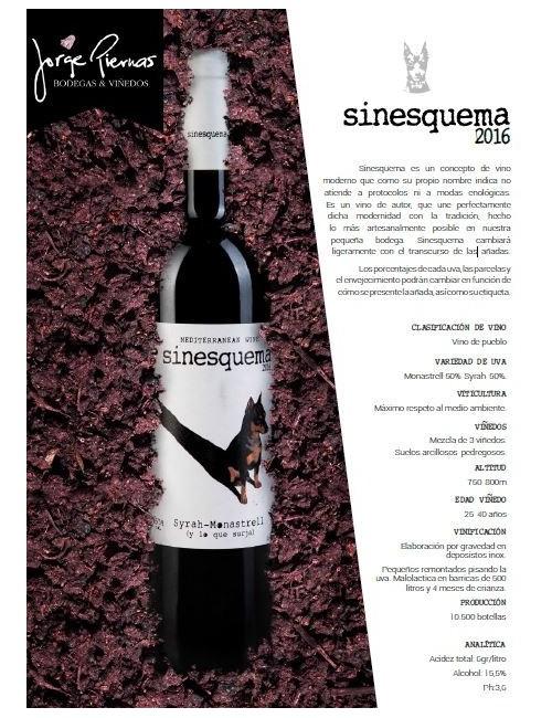 Sinesquema 2016 * Jorge Piernas, Vino tinto, Monastrell, Syrah