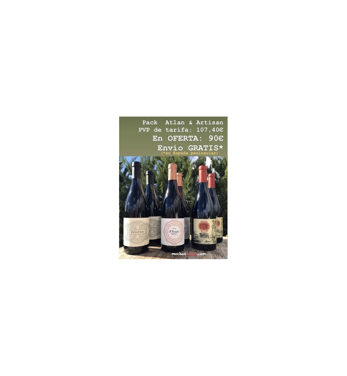 Pack ATLAN & ARTISAN + gastos de ENVÍO GRATIS*, vino tinto, Monastrell viñas viejas, Cabernet S., Callet, Manto Negro, Merlot